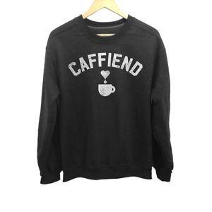 Boredwalk Caffiend Black Fleece Lined Sweatshirt